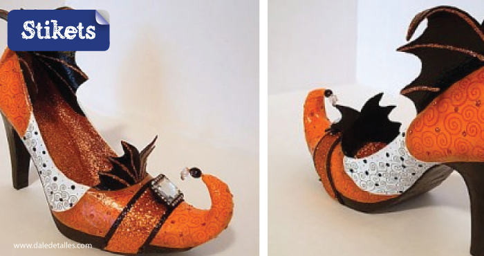 Cómo hacer un disfraz de bruja.Zapatos purpurina