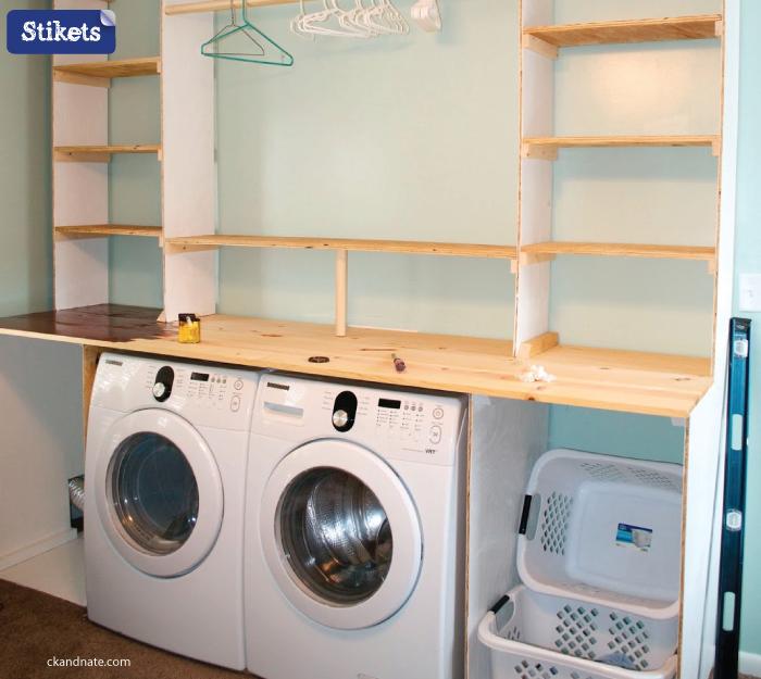 Cómo organizar el lavadero.estanterías-hechas-a-mano