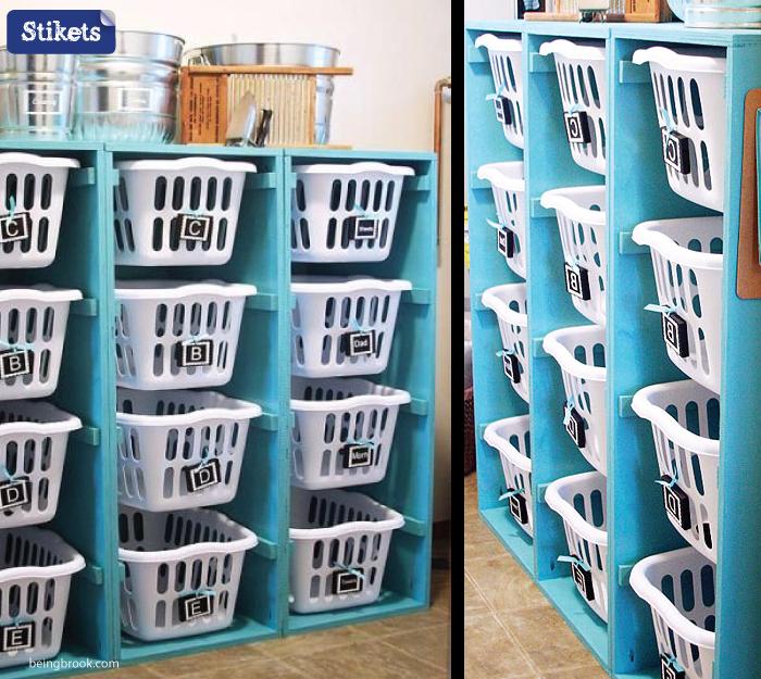Cómo organizar el lavadero.Cestas