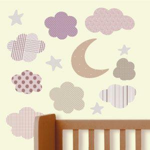 Vinilo de luna, estrellas y nubes 3