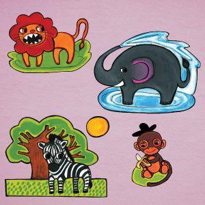 Vinilo león, cebra, mono, elefante