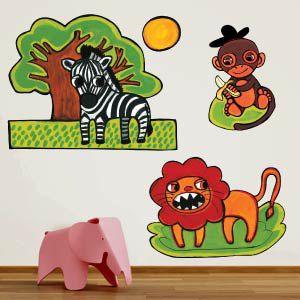 Vinilo león, mono y zebra