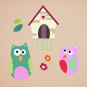 Vinilo búhos y nido