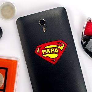 Pegatina Súper Papá escudo para móvil