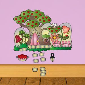 Vinilo infantil casita de hadas en el árbol