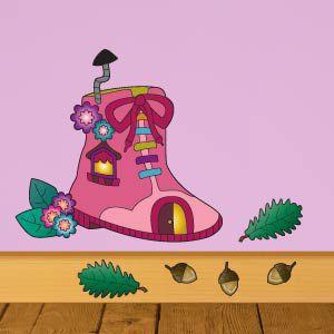 Vinilo infantil casita de hadas en una bota